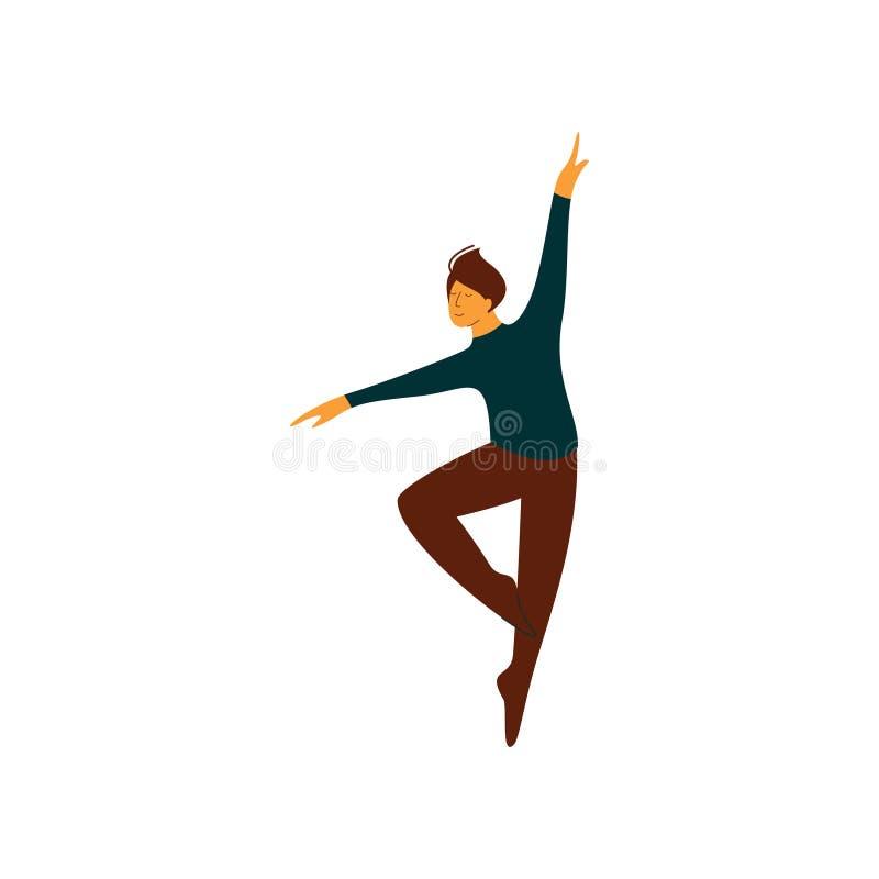 Ilustração masculina do vetor da dança de Performing Classical Ballet do dançarino de bailado ilustração royalty free