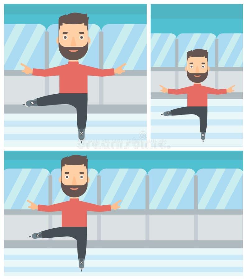 Ilustração masculina do vetor do patinador artística ilustração stock