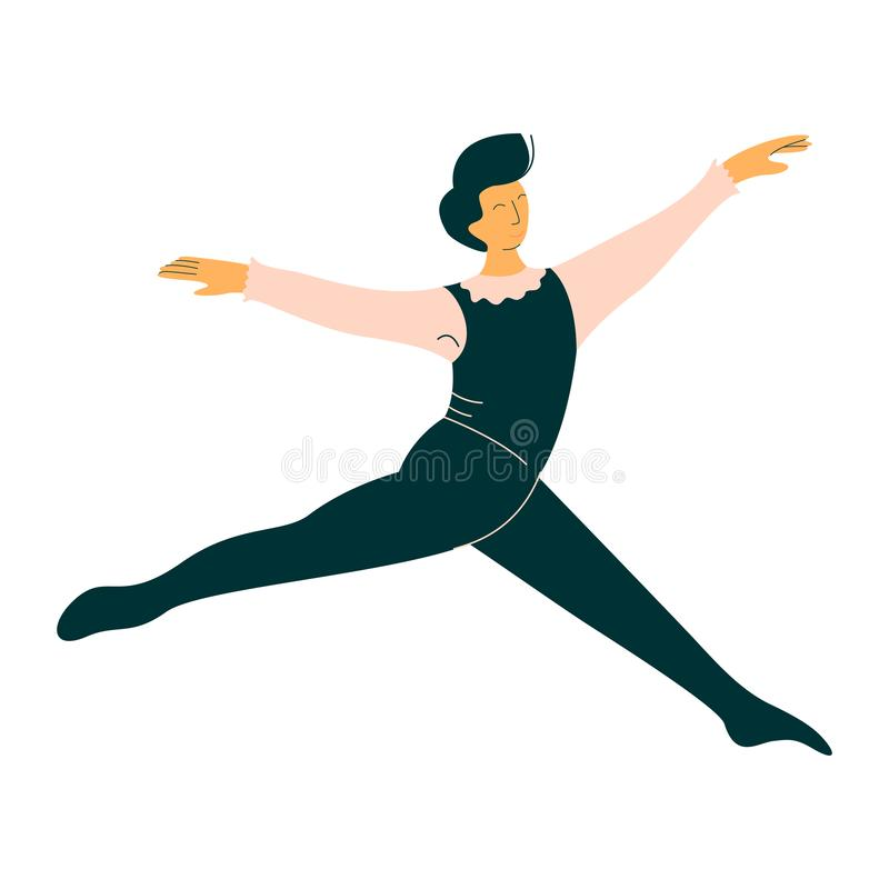 Ilustração masculina profissional do vetor de Dancing Classical Ballet do dançarino de bailado ilustração do vetor