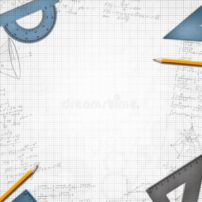 Ilustração matemática do fundo da escola ilustração do vetor