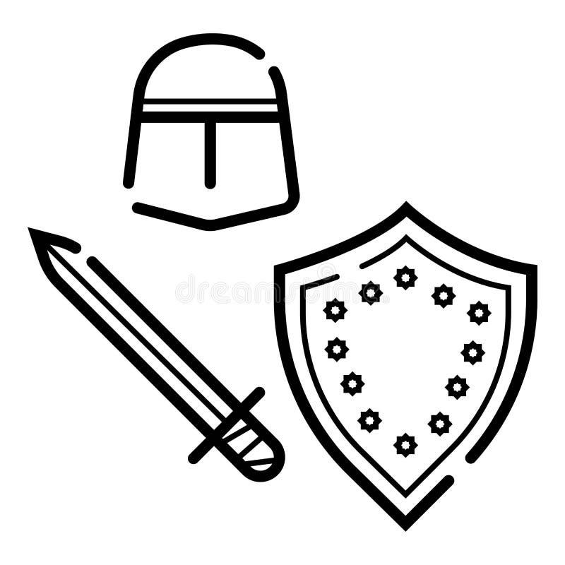 Ilustra??o medieval do ?cone dos bra?os ilustração do vetor