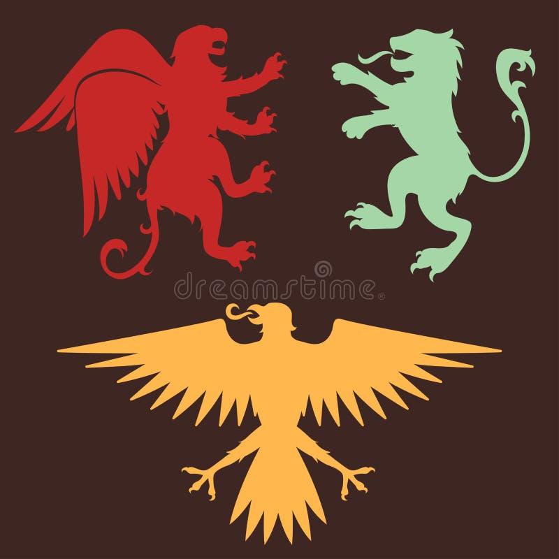 Ilustração medieval do vetor do crachá da heráldica do símbolo do rei do vintage da silhueta da águia do cavaleiro da crista real ilustração royalty free