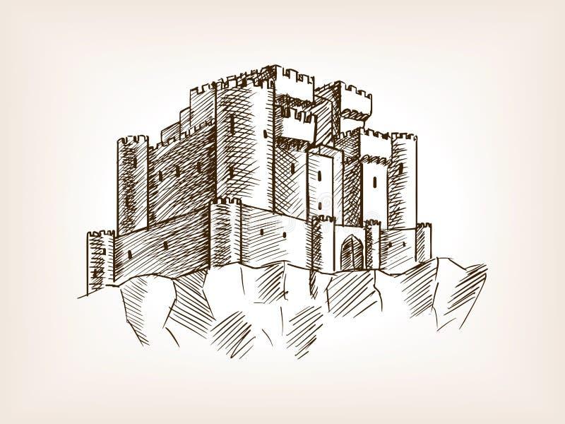 Ilustração medieval do vetor do estilo do esboço do castelo ilustração stock