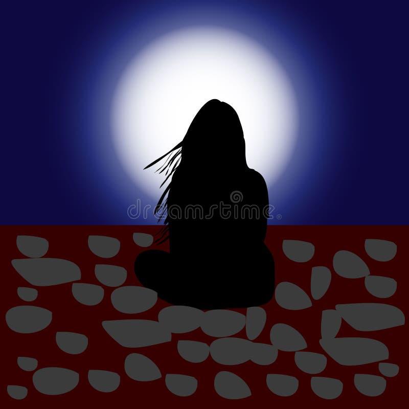 A ilustração, menina com cabelo de fluxo, senta e olha a lua ilustração royalty free