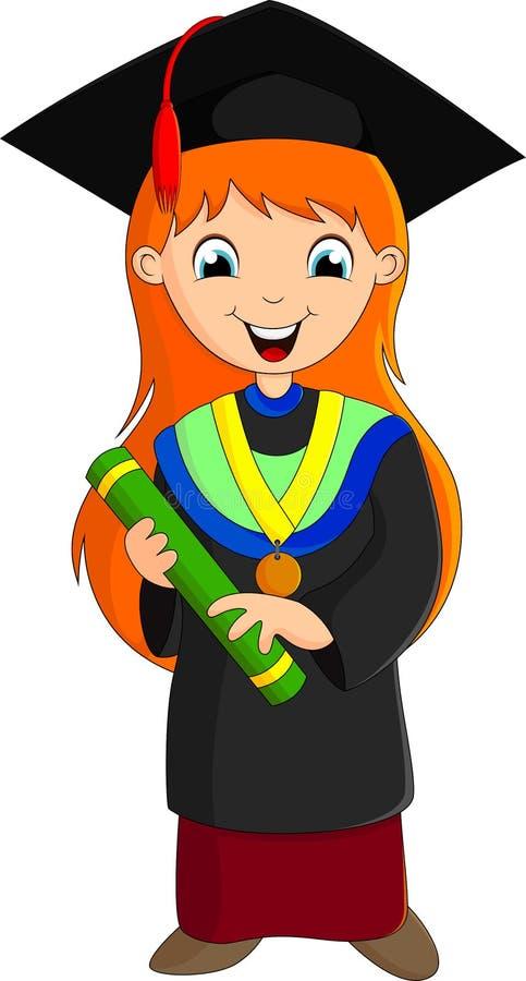 Ilustração - menina da graduação ilustração do vetor