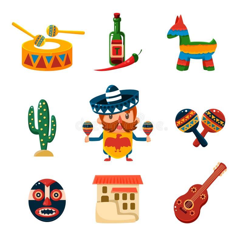 Ilustração mexicana tradicional do vetor dos objetos ilustração do vetor