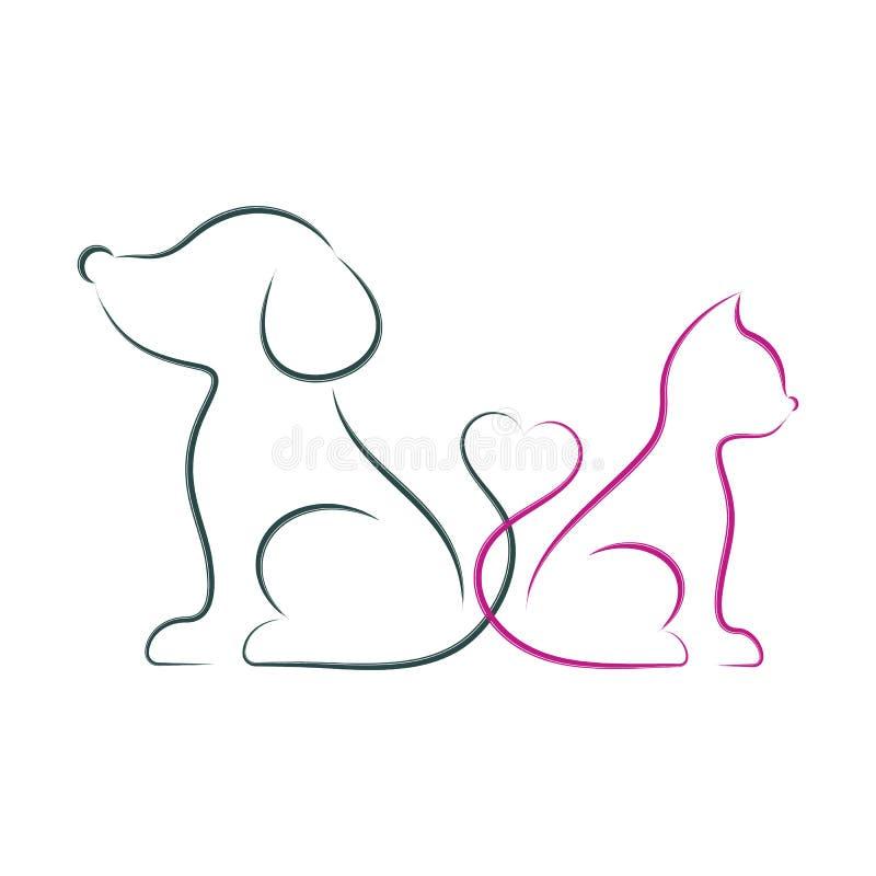 Ilustração minimalista do vetor do cão e gato ilustração do vetor