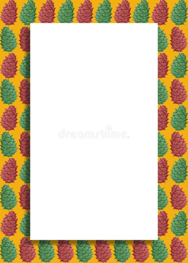 Ilustração minimalista do vintage do cartão com Cedar Cones Pattern, fundo dourado e espaço da cópia Natal e ano novo B ilustração royalty free