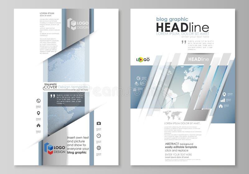 A ilustração minimalistic abstrata do vetor da disposição editável do projeto moderno do modelo de duas páginas do gráfico do blo ilustração stock