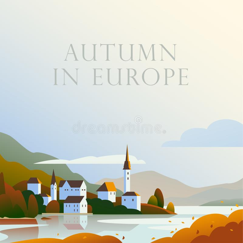 Ilustração minimalistic da paisagem lisa do vetor da cidade acolhedor europeia do outono selvagem, seacoast, opinião da natureza  ilustração royalty free