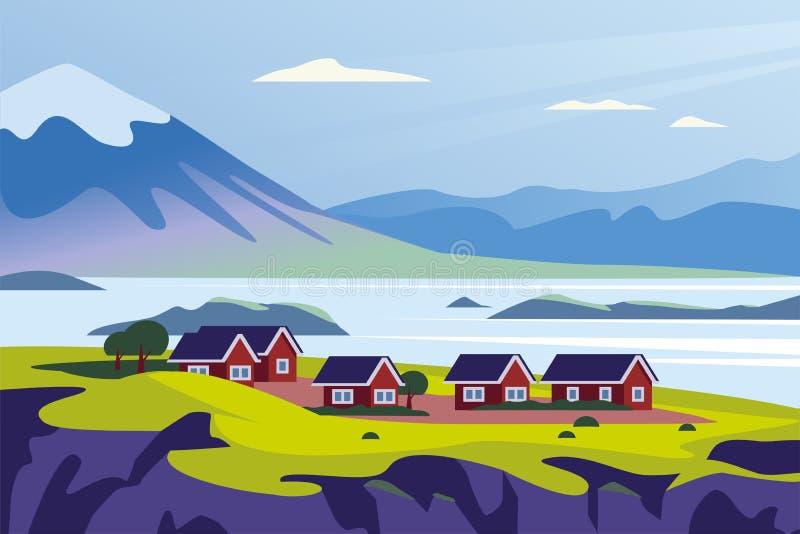 Ilustração minimalistic da paisagem lisa do vetor da opinião nórdica selvagem da natureza: céu, montanhas, água, casas acolhedore ilustração stock