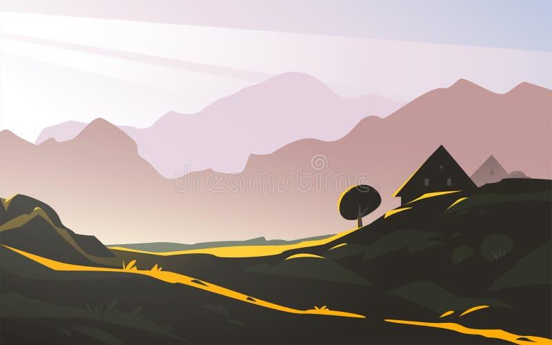 Ilustração minimalistic da paisagem lisa do vetor da opinião selvagem com céu, luz solar da manhã da montanha da natureza, casa a ilustração do vetor