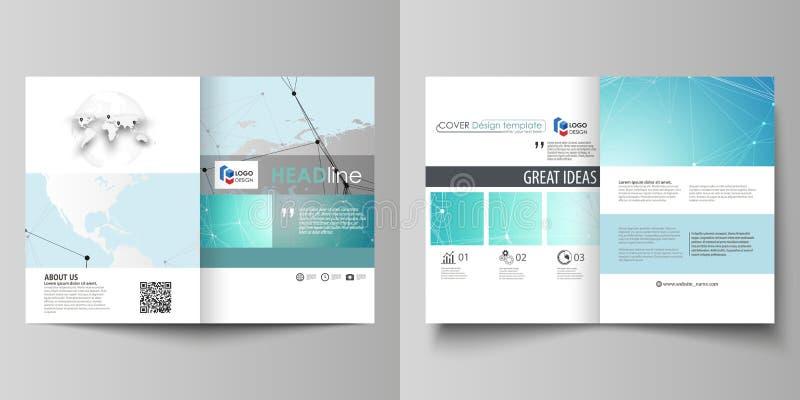 A ilustração minimalistic do vetor da disposição editável de duas tampas modernas do formato A4 projeta moldes para o folheto ilustração stock