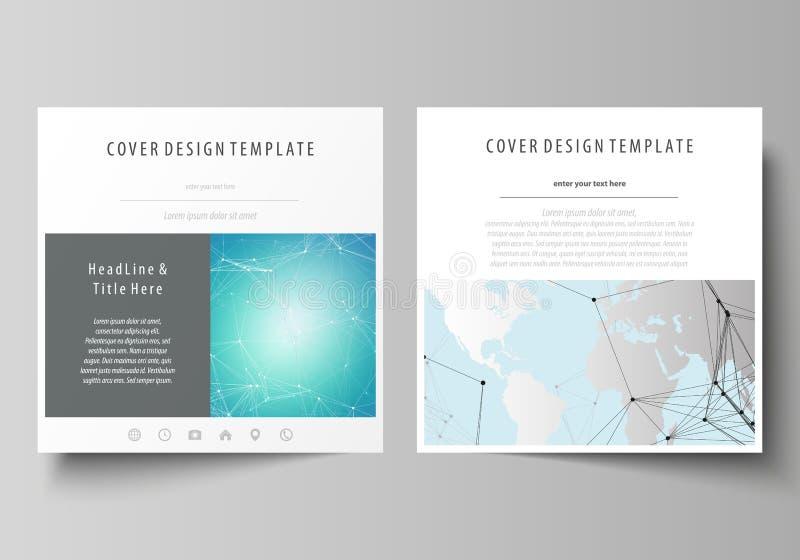 A ilustração minimalistic do vetor da disposição editável de duas tampas quadradas do formato projeta moldes para o folheto ilustração royalty free
