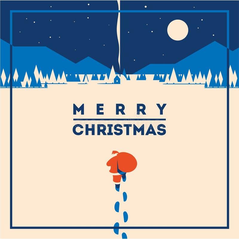 Ilustração minimalistic do vetor do Feliz Natal
