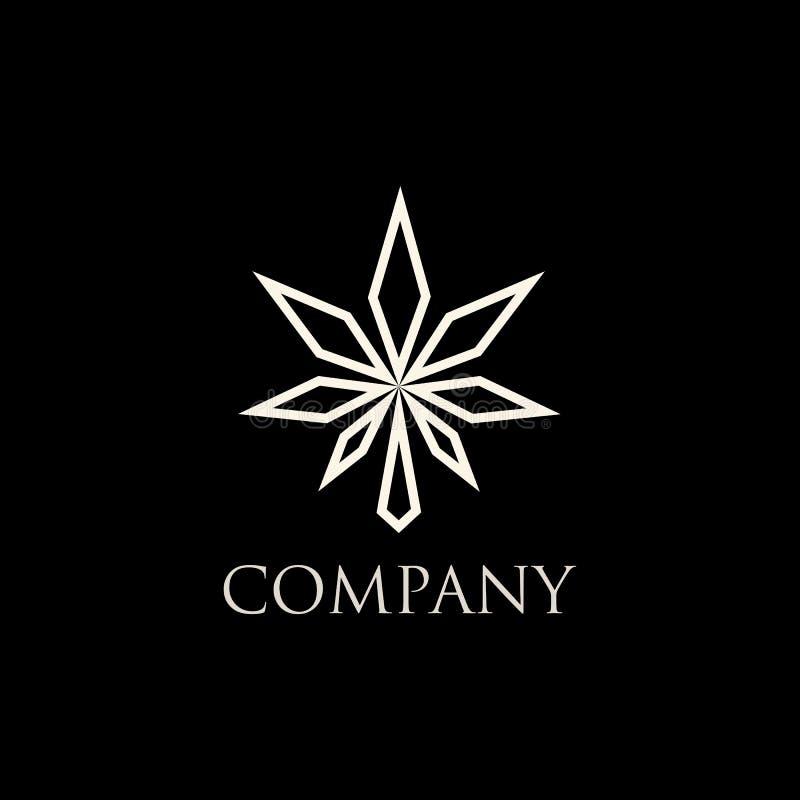 Ilustração moderna abstrata do projeto do vetor do logotipo do cannabis ilustração royalty free