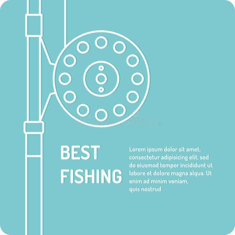 Ilustração moderna da melhor pesca no estilo linear ilustração do vetor