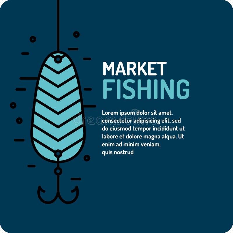 Ilustração moderna da melhor pesca no estilo linear com colher ilustração stock
