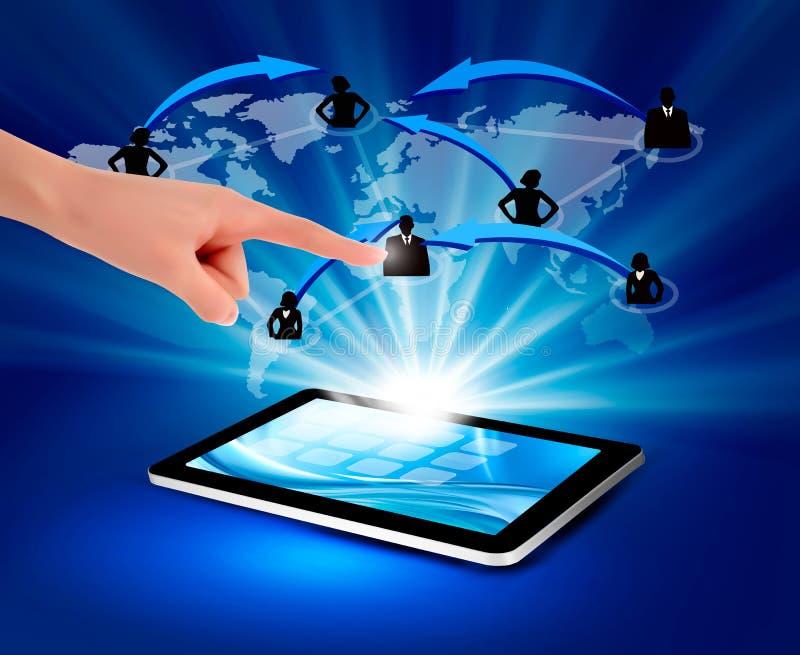 Ilustração moderna da tecnologia de comunicação com   ilustração stock
