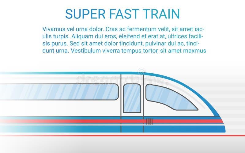 Ilustração moderna de alta velocidade do vetor do conceito do trem do trilho ilustração stock