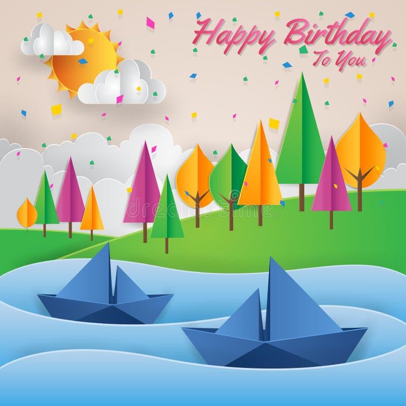 Ilustração moderna do cartão de aniversário de Art Style Riverside View Happy do papel ilustração royalty free