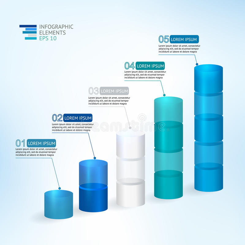 Ilustração moderna do vetor 3D infographic para estatísticas, analítica, relatórios financeiros, apresentação e design web ilustração do vetor