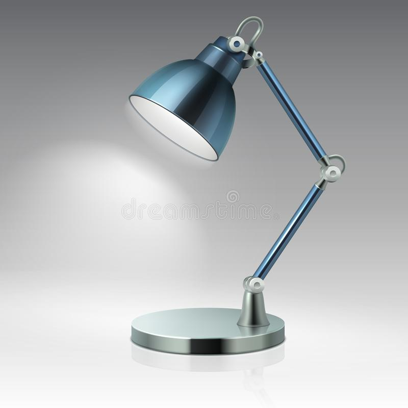 Ilustração moderna do vetor da lâmpada do metal da tabela do escritório isolada no fundo branco ilustração royalty free