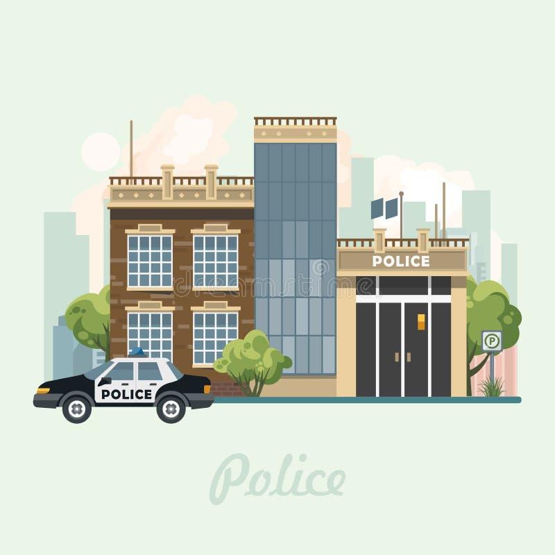 Ilustração moderna do vetor do centro da cidade no projeto liso Ilustração do vetor do prédio de escritórios da polícia no projet ilustração stock