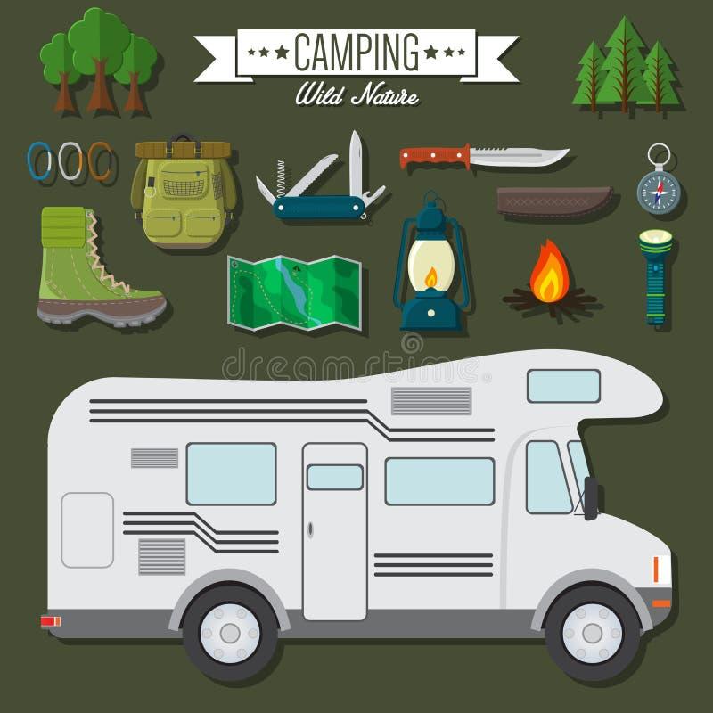 Ilustração moderna do vetor do projeto liso do grupo do curso e das férias Acampando e caminhando artigos do equipamento, carro r ilustração stock