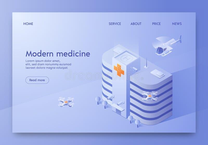 Ilustração moderna escrita da medicina isométrica ilustração stock