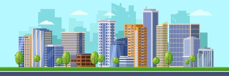 Ilustração moderna grande da cidade Fundo da arquitetura da cidade do vetor Construções urbanas, arranha-céus do distrito do cent ilustração royalty free