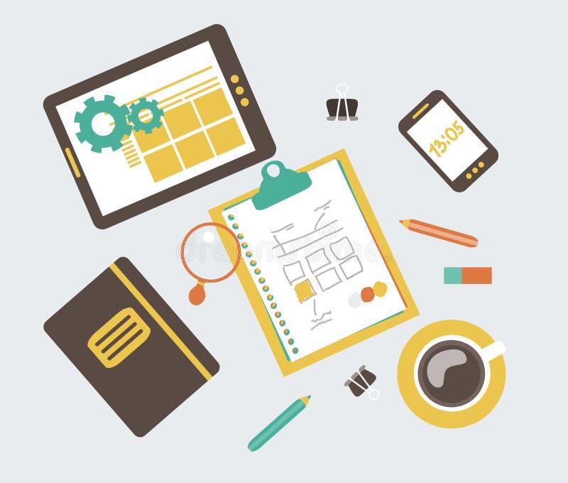 Ilustração moderna lisa, desenvolvimento w do design web ilustração do vetor