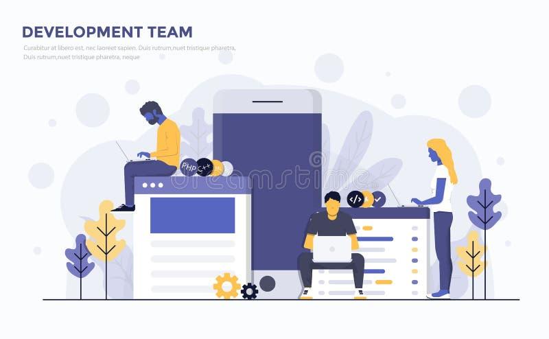 Ilustração moderna lisa do conceito - equipe de desenvolvimento ilustração do vetor