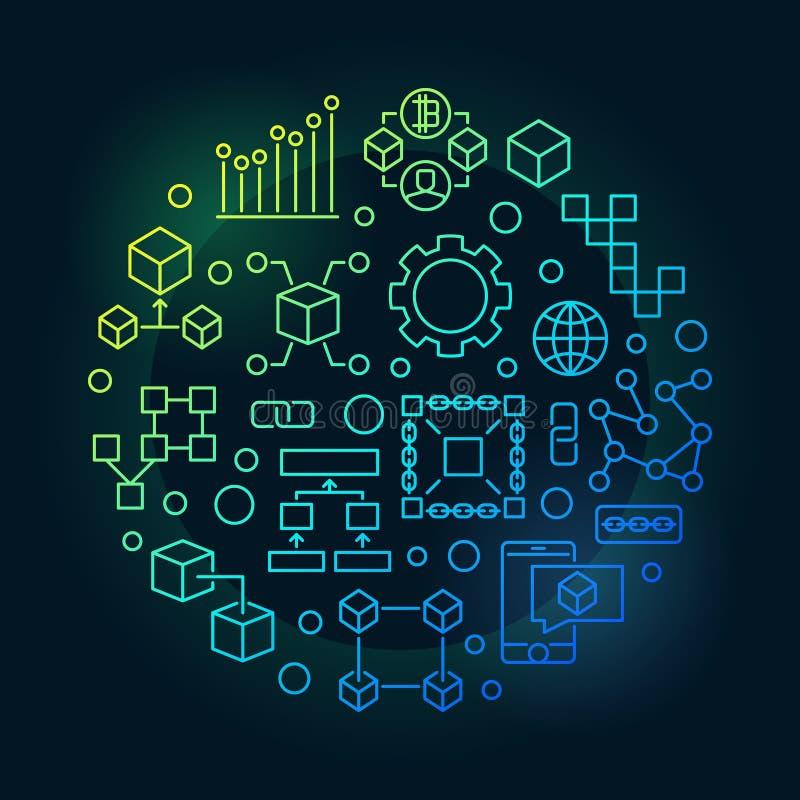 Ilustração moderna redonda do vetor colorido do blockchain ilustração stock