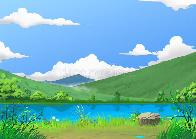 Ilustração: Mola: O lado bonito do rio pela montanha com grama e as flores frescas verdes, após chover ilustração stock