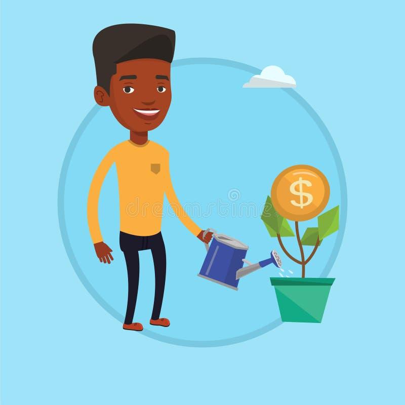 Ilustração molhando do vetor da flor do dinheiro do homem ilustração do vetor