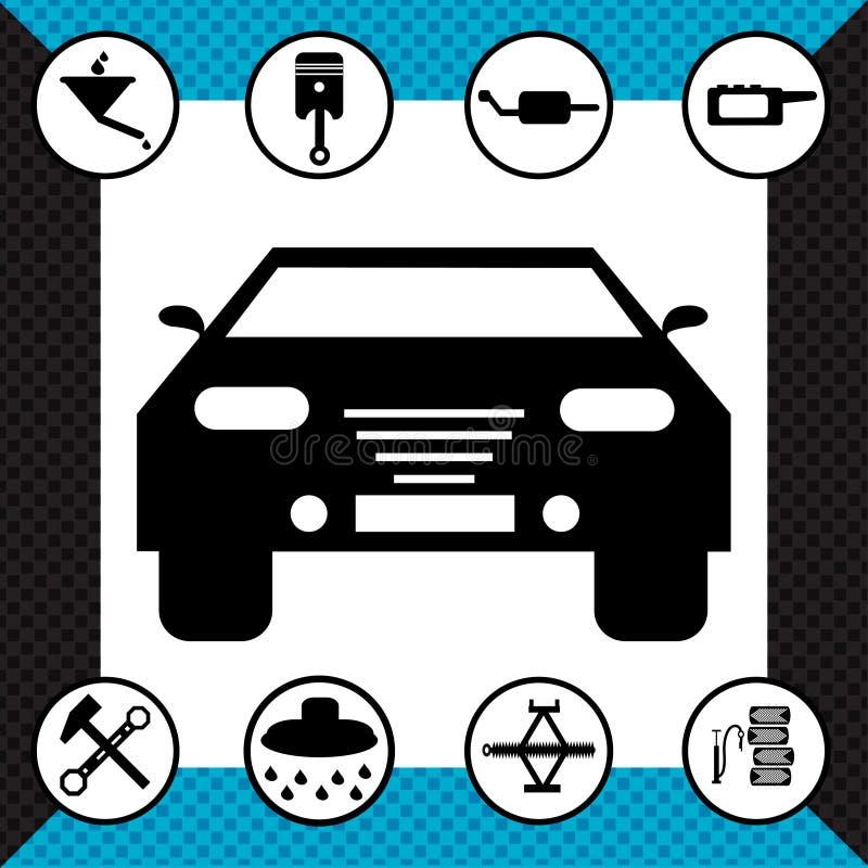Ilustração monocromática bonita do vetor dos símbolos da estrada ilustração royalty free