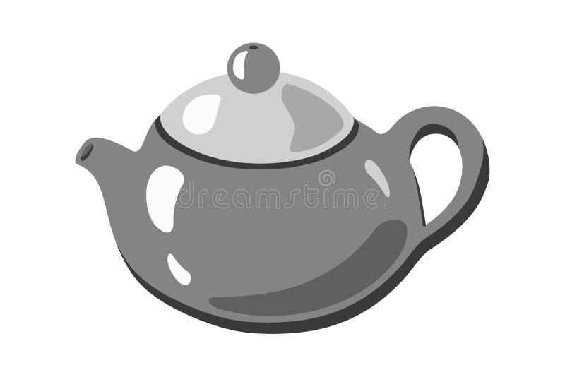 Ilustração monocromática do vetor da imagem do ícone do bule ilustração royalty free