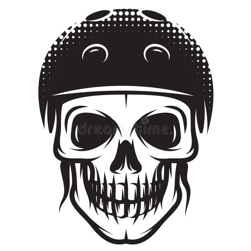 Ilustração monocromática do vetor no tema de skateboarding com crânio e capacete ilustração do vetor