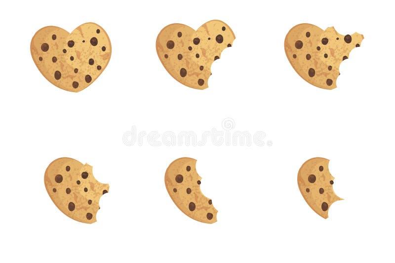 Ilustração mordida do vetor da cookie da microplaqueta ilustração do vetor