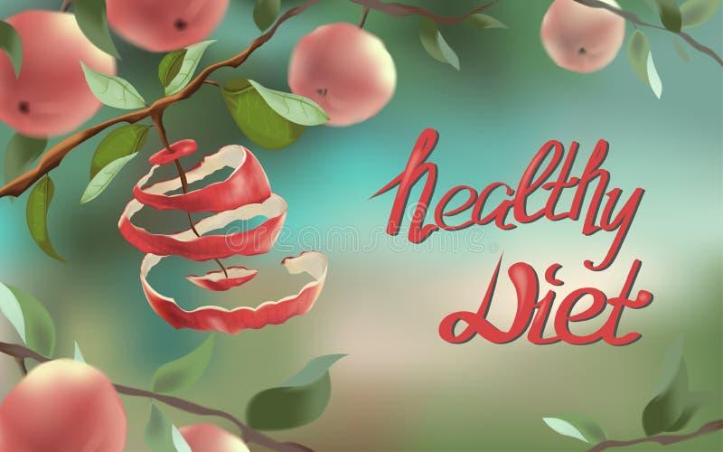 A ilustração mostra uma maçã vermelha, que seja cortada em uma espiral imagem de stock