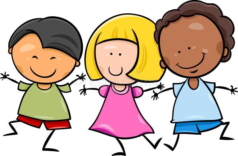 Ilustração multicultural dos desenhos animados das crianças ilustração stock