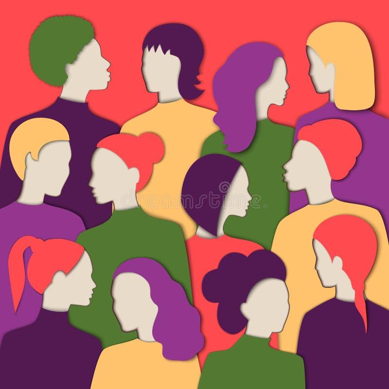 Ilustração multinacional das caras das mulheres s Entalhes de papel diferentes das mulheres s das raças ilustração royalty free