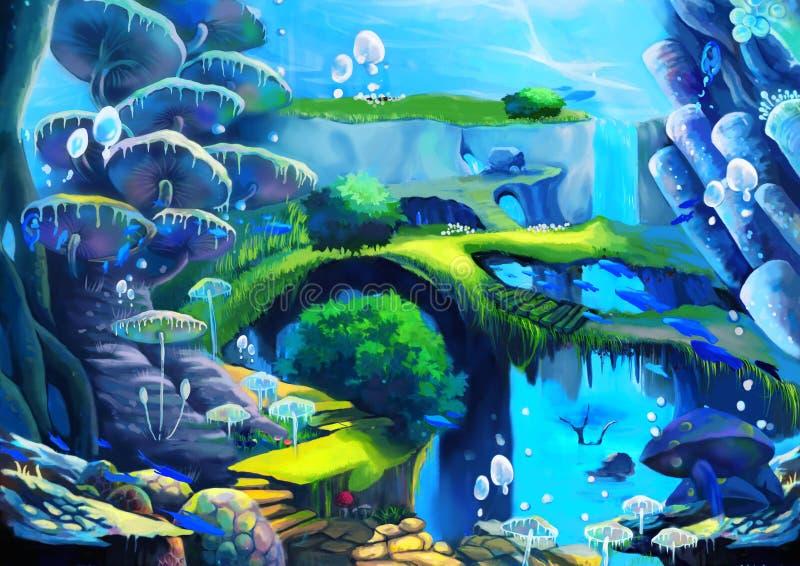 Ilustração: Mundo subaquático: Cachoeira sob o mar; Peixes de voo; Ponte; Escadas de pedra ilustração stock