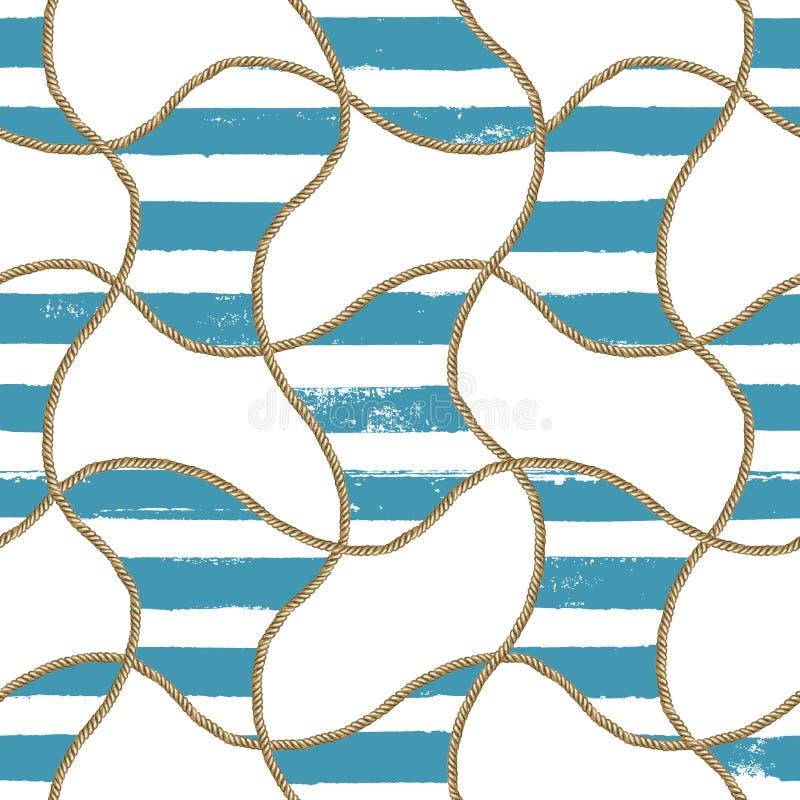 Ilustração náutica do mar sem emenda do teste padrão Textura tirada mão da forma da aquarela com cordas foto de stock royalty free