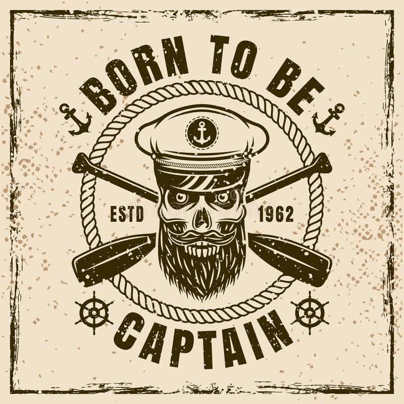 Ilustração náutica do vetor com o crânio do capitão ilustração royalty free