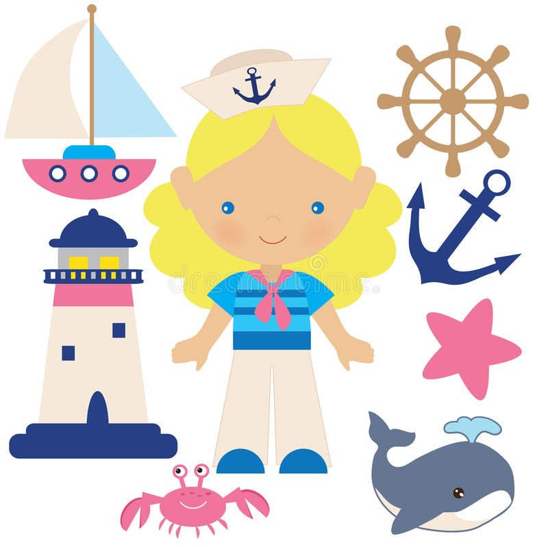 Ilustração náutica do vetor da menina ilustração royalty free