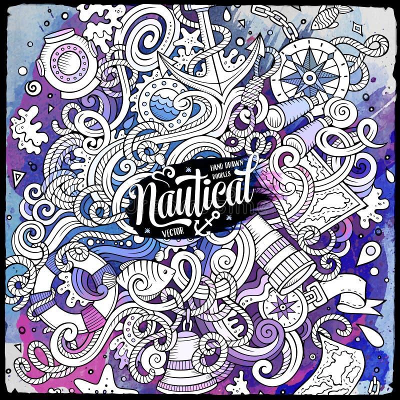 Ilustração náutica tirada das garatujas dos desenhos animados mão bonito ilustração royalty free