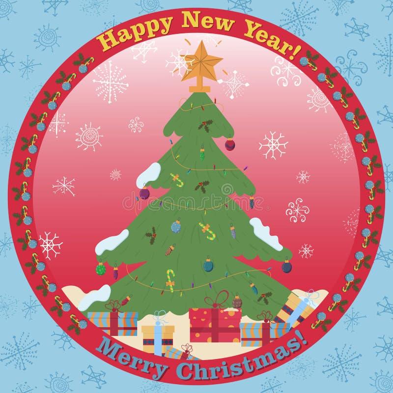Ilustração na árvore de Natal lisa do estilo com os presentes que estão na neve em um ornamento circular ilustração stock