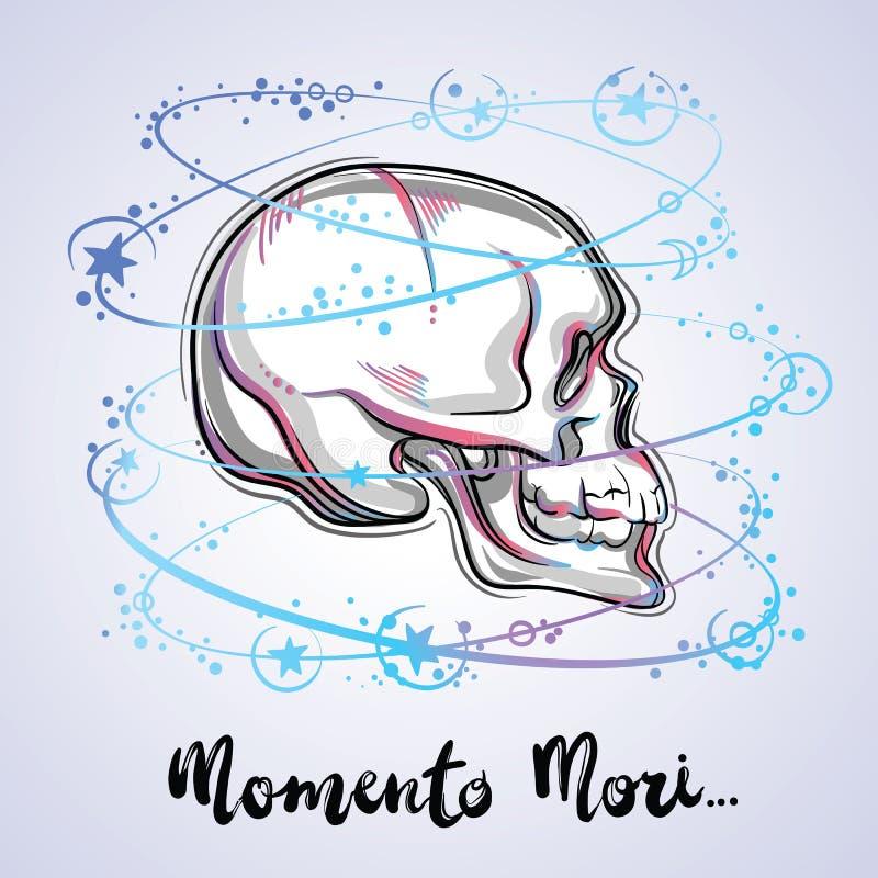 Ilustração na moda de um crânio humano - o símbolo do vetor da vida sagrado e da verdade amarga Projeto da tatuagem do vintage e  ilustração royalty free